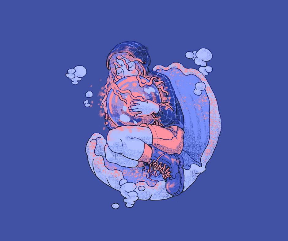 kuvassa sinistä taustaa vasten piirretty nuori hahmo halaa simpukan helmeä simpukassa istuessaan